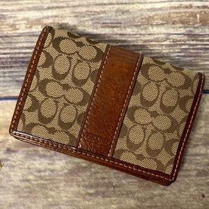 Coach Logo Canvas & Leather Bi-Fold Mini Wallet